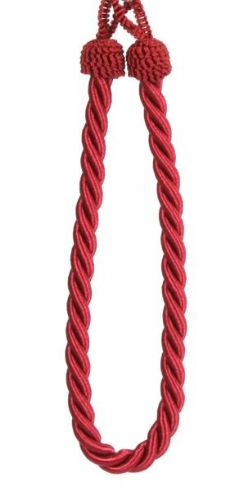 BURGUNDY WINE PLAIN COLOUR PAIR OF ROPE CORDED TIEBACKS